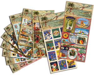 hawaiian vintage stickers